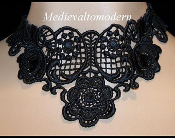 Simple Choker in  Black Venise Lacey Lace Flower Gothic Collar Necklace