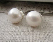 Extra Large Pearl Earrings, White Pearl Studs, Freshwater Pearls, Real Pearl Earrings, Silver Post Earrings, Large Pearl Studs Genuine Pearl