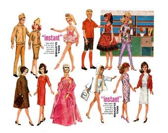 Vintage 1960s Barbie High Fashion Wardrobe Pattern ORIGINAL Paper Pattern McCalls 6901 Fashion Doll Ken Vintage Sewing and Knitting Pattern