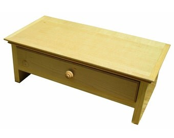 Small Maple Hardwood Computer Monitor Stand and Desk  Organizer with Drawer