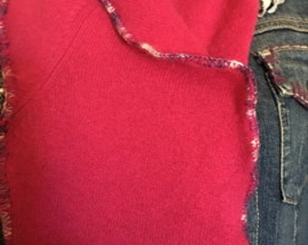 Raspberry cashmere sweater scarf