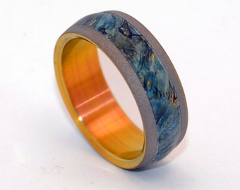 Titanium Wedding Ring, Men's ring, Women's ring, Wooden wedding rings, Blue Box Elder wood, SandBlasted finish, EVERY DROP of BLUE