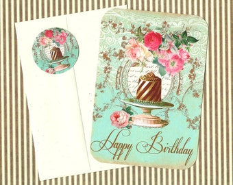 Cards, Bakery, Happy Birthday, Cake, French Style, Note Card Set, Stickers