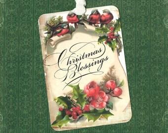 Christmas, Gift Tags, Vintage Christmas, Bird Tags, Christmas Florals, Merry Christmas