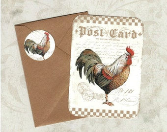 Note Cards, Farm House, Rooster Note Cards, Farm House Rooster, Stickers