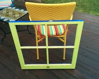 Lime Green Vintage Window Frame
