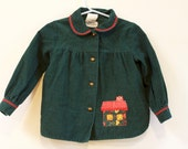 Vintage  Girl's Coat 1970s Toddler Coat Nannekins by Nannette Green corduroy Jacket size 4