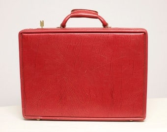 Vintage Hartmann Red Leather Briefcase Attache 1970s Case with Key