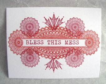 Single Letterpress Postcard Bless This Mess