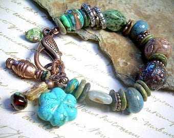 Turquoise Wind - Copper Gemstone & Mixed Material Bracelet With Charms