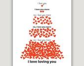 I Love You More, Valentine Art Print, Valentine's Day gift, heart wall art, Valentine decor, funny Valentine, anniversary gift, red & white