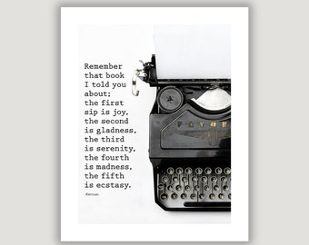 Jack Kerouac Quote, gift for writer, office art, library wall art, vintage typewriter print, graduation gift, black and white, typography