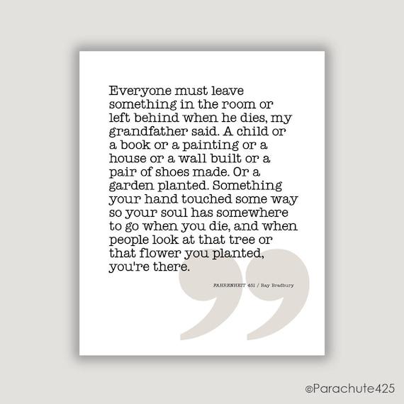 Quotes From Fahrenheit 451: Items Similar To Ray Bradbury Quote, Fahrenheit 451