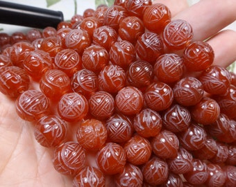 26. Carnelian 12mm Carved Round Bead 16 Inches Strand 38pcs Stones Beads
