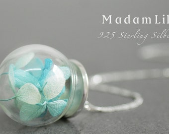 925 Sterling Silver XL Hydrangea Macrophylla Necklace