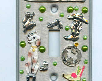 Dog Theme Light Switch Cover With Charms and Recycled Items