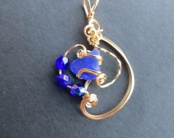 Sea glass pendant Cobalt Blue 14K gold filled wire designer