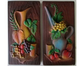 Pair Of Vintage LEFTON WALL PLAQUES * Pitcher With Fruits 5248