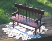 Mini Bench, dollhouse miniature wooden w spindle style back