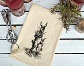 Flour Sack Kitchen Towel, Easter Bunny Rabbit Towel,  Feed Sack Towel,  Easter Dish Towel, Kitchen Towel,  Dish Towel,  Bunny Rabbit Towel