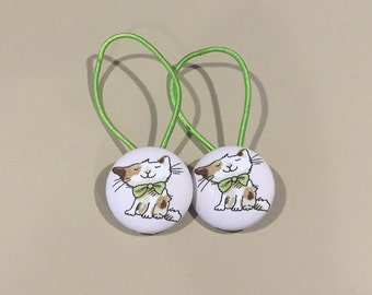 "1 1/8"" Size 45 Tan/Brown Cat with Green Bow Fabric Covered Button Hair Tie / Ponytail Holder / Party Favor (Set of 2)"
