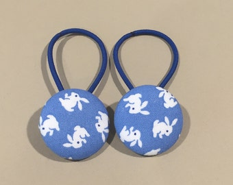 """1 1/8"""" Size 45 Blue/White Bunny Rabbit Fabric Covered Button Hair Tie / Ponytail Holder / Party Favor (Set of 2)"""