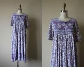 Indian Cotton Dress - Vintage 1970s India Gauzy Lavender Block Print Tunic Tent Dress S - Desiderata Dress