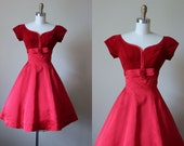50s Dress - Vintage 1950s Party Dress - Red Velvet Satin Bust Shelf Princess Cocktail Party Dress S - Rosetta Dress
