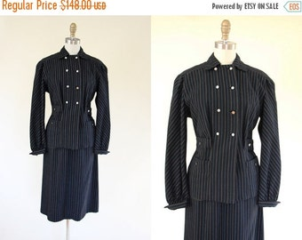ON SALE 1940s Suit - Vintage 40s Black Electric Blue Pinstriped Wool Jacket Skirt Suit XS S - Lady Gangster Suit