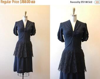 ON SALE 40s Dress - Vintage 1940s Dress - Black Rayon Crochet Lace Peplum Swing Dress S M - Bowtiful