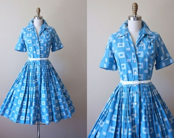 50s Dress - Vintage 1950s Dress - Delphite Blue White Woven Geometric Cotton Shirtwaister M - Fine China Dress