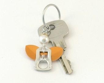orange pop tab angel keychain, soda can tab angel keyring,  soda tab angel bag charm, angel key charm, upcycled keychain, recycled keychain
