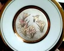 Chokin Vintage Hummingbird Plate