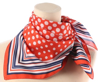 POLKA DOT Scarf 70s Red White Blue Neck wear Shawl Polyester Mod Vintage Neck Scarf Italy Retro Twiggy Kerchief Hipster Women Men Gift Idea