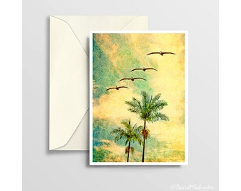 California Note Card, Palm Trees Card, California Card, Retro Greeting Card, Vintage California, Retro California,Retro Note Card,Retro Art