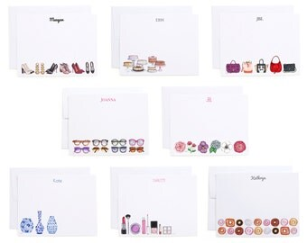 Monogrammed Illustrated Flat Note Cards / Custom Fashion Note Cards, Monogrammed Fashion Stationery, Custom Fashion Illustration Stationery