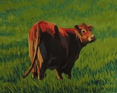 Plein Aire Style Oil Painting, Contented Grazing Cow, Realistic and Relaxing