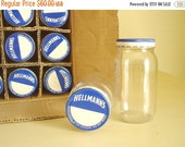 Box of 12 jars, Hellman's Mayonnaise 8 ounce bottles, 1950 kitchen storage jars, diner style collectible, mayo jars, blue & white metal caps