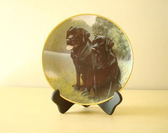 Sporting Companions, Labrador retrievers, Franklin Mint collectible plate, Nigel Hemming, lab lovers gift, black labs
