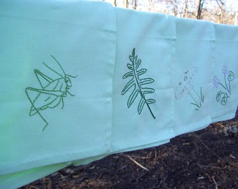 Hand embroidered Natural History mint green cloth napkins