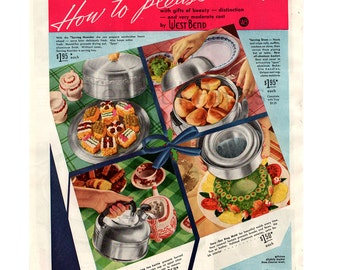 1939 West Bend Vintage Ad, 1930's Housewares, 1930's Cooking, Advertising Art, 1930's Decor, Jello Ring Mold, Serving Oven, Retro Ad.