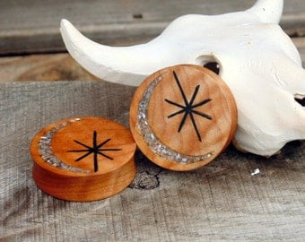 Moon and star Quilted maple wood ear plugs, 38.25mm gauge, 1.5 inch custom gauges