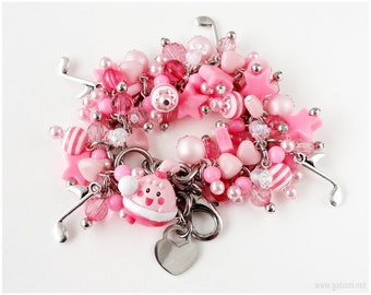 Pokemon Happiny Bracelet, Pink Kawaii Charms, Stainless Steel Chain - Gamer Girl, Kawaii Jewelry, Chansey