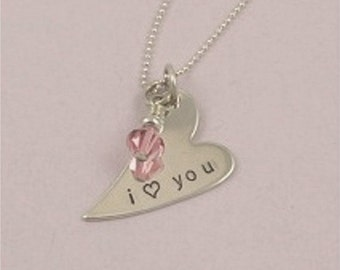 ON SALE I Love You Hand Stamped Sterling Silver Heart Necklace
