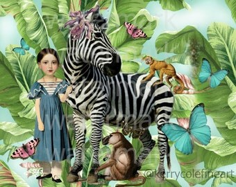 DNA Circus Frameable Print in 2 sizes..Zebra Monkey Butterflies