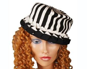 1960s Black & White Striped Hat - Grosgrain Ribbon - Steampunk
