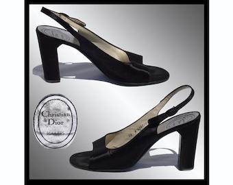 Vintage 1970s Black Christian Dior Shoes  - Slingbacks - 7 1/2