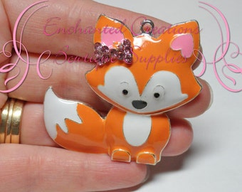 "2"" Sweet Fox Chunky Pendant, Keychain, Bookmark, Zipper Pull, Chunky Jewelry, Animal Jewelry, Brown Fox with Pink Bow, What Does The Fox Say"
