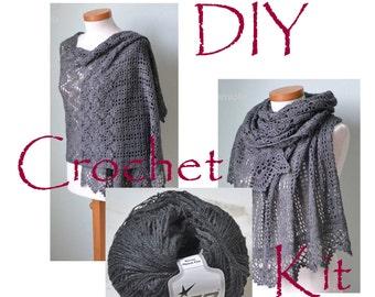 DIY Crochet Kit, Crochet shawl kit, IZUMI, BLACK, yarn and pattern