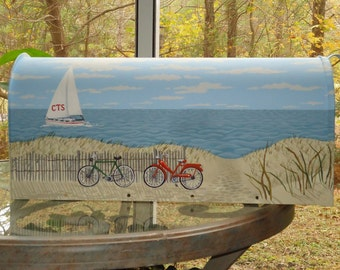Hand Painted Bicycle Mailbox,  Dunes and Sailboat Mailbox, Beach Decor, Great Gift!